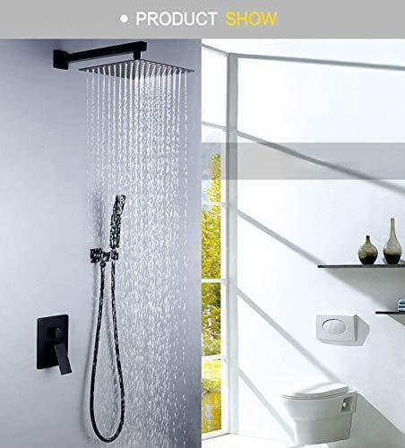 XZ Home zwarte douche ultradunne muur inbouw douchekop plafond messing douchekranen Set regen handgreep douches 8/10/12/inch badkamer 10