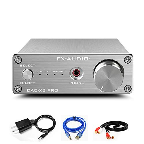FX AUDIO DAC and Headphone Amplifier Mini HiFi Stereo Home Audio DAC Converter ESS9023 CS8416 USB Optical Coaxial Input and RCA Headphone Amp Output DAC-X3 PRO Digital to Analog Converter (Silver)