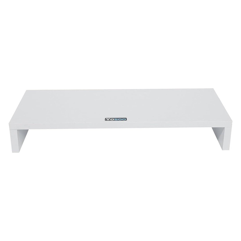 Computer Monitor Riser, Premium Wood Monitor Stand TV Riser Desk Organizer for Home Office(White)