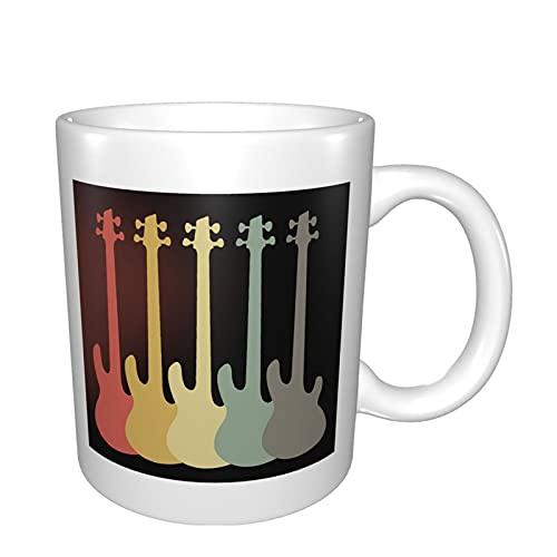 Guitarra eléctrica retro vintage bajo taza de cerámica tazas para café té...