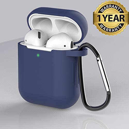 AirPods Case Cover Newest Silicone Skin Cute Full Protective Case Cover with Keychain Compatible with Apple Airpods 2 & 1 Wireless Charging Case, Airpods Accesssories (Navy Blue)