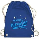 Shirtracer Anlässe Kinder - Großer Bruder seit 2020 Sterne - Unisize - Royalblau - geschwister geschenk zur geburt - WM110 - Turnbeutel und Stoffbeutel aus Baumwolle
