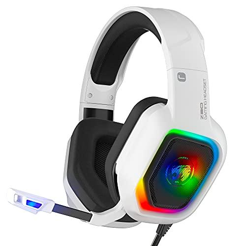 ZIUMIER Cuffie Gaming con Microfono e Bassi Stereo,Cancellazione del Rumore,per PS4 PS5 PC, Xbox One con Luce RGB e 3,5 mm Jack (bianca)