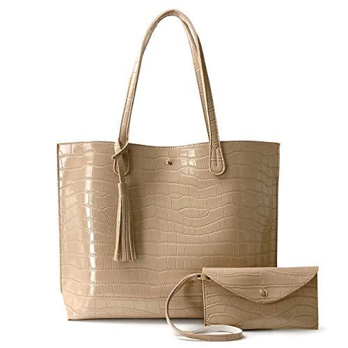 Minimalist Clean Cut Pebbled Faux Leather Tote Womens Shoulder Handbag (Crocodile Nude)