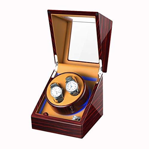 LSRRYD Horlogebeweger automatische 4 + 0 LED-verlichting geïntegreerd, houten schilderij voor piano PU lederen box opslag Japanse motor stil