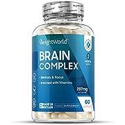 Brain Complex - 60 Capsules (2 Month Supply) Nootropic Brain Food Supplement with Vitamin B Complex, Vitamin C, L-Theanine, Caffeine & Ginkgo Biloba, Energy Booster, Health & Focus Vitamins