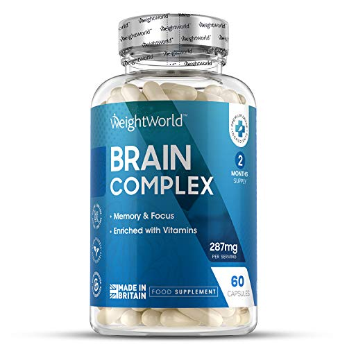 Brain Complex - High Strength Nootropic Supplement - 60 Capsules (2 Month Supply) - with Ginkgo Biloba, Ginseng, L-Theanine, 5-HTP, Vitamin B Complex, Vitamin C & Caffeine, Vegan & Keto Formula