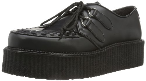 Demonia CREEPER-402 Herren Schnürhalbschuhe, Schwarz (Blk Leather), EU 44 (UK 11) (US 12)