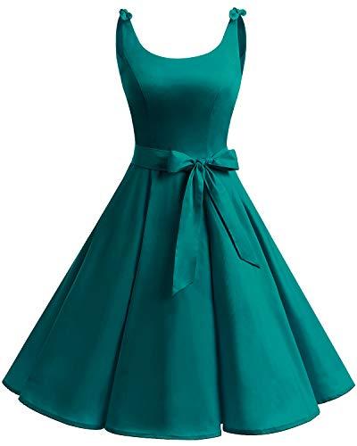Bbonlinedress 1950er Vintage Polka Dots Pinup Retro Rockabilly Kleid Cocktailkleider Turquoise-1 XS