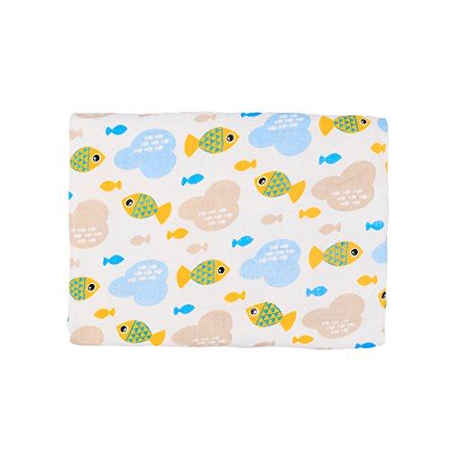 Miracle Baby Couverture d'Emmaillotage pour Bébé Fille Garçon Lange en Mousselines de 100% Coton 110 * 150cm Pour Nacelle Siège auto Poussette Landau Lit de Bébé(Une Couches/Poissons)