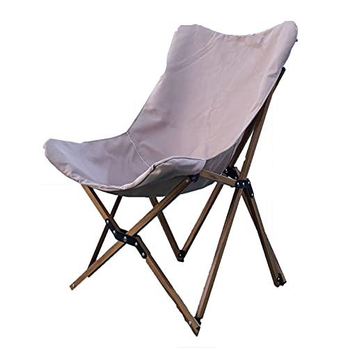DPGPLP Klappstuhl, tragbarer Camping-Angelstuhl, Mover Chair Leisure Wood Grain Chair Khaki