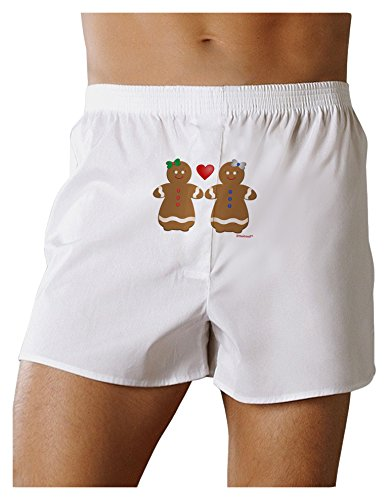 TOOLOUD Gingerbread Woman Couple Front Print Boxers Shorts - White - Large