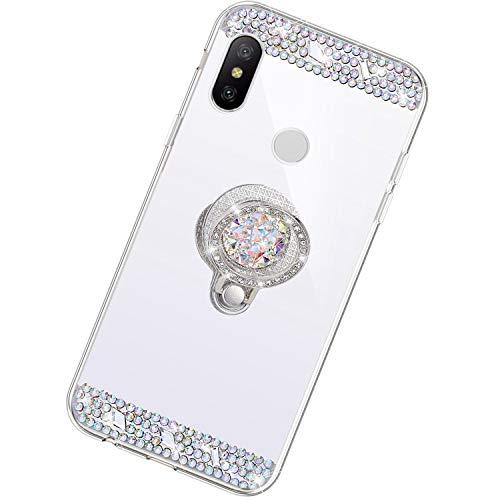 Funda Compatible con Xiaomi Redmi Note 6 Pro.Espejo Glitter Diamante Anillo Soporte Brillo TPU Transparente Silicona Suave Carcasa Cover Mirror Bling Moda Ultrafino Protective Bumper Case,Plata
