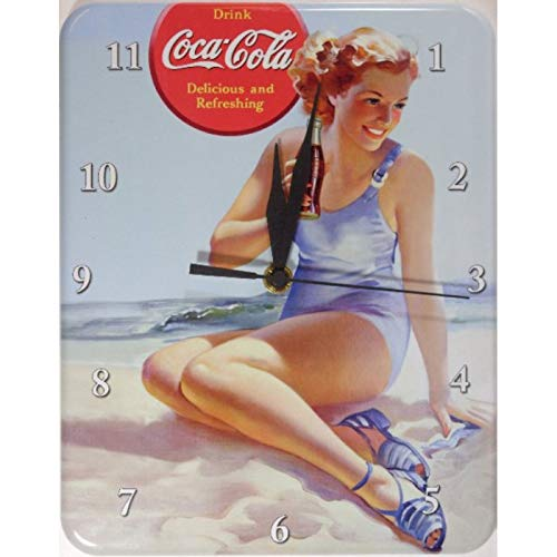 hotrodspirit–Pendel Metal Coca Cola Baigneuse Trikot blau Wanduhr