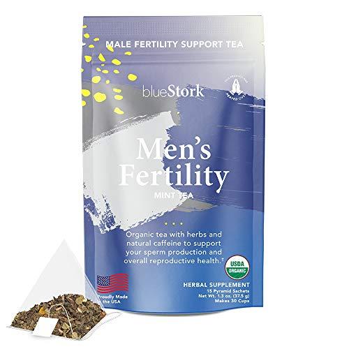 Blue Stork Male Fertility Tea: Mint Tea for Male Reproductive Health, 100% Organic, Fertility Tea for Men, Green Tea, Turmeric, 30 Cups