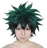 Peluca de Cosplay de Anime Peluca rizada corta negra verde del traje de Halloween
