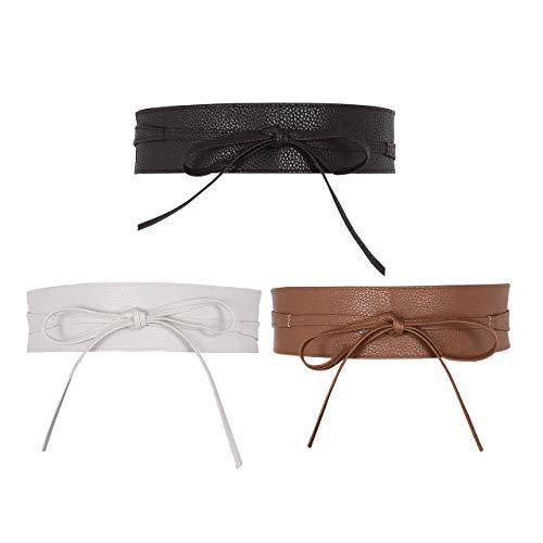 Damen Fashion 3 pic/set Gürtel Breiter Taillengürtel Hüftgürtel Bindegürtel Ledergürtel