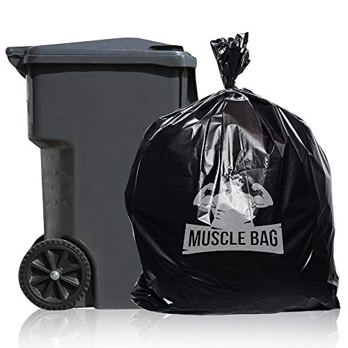 Muscle Bag - 55 Gallon 1.5Mil Trash Bags, Individually Folded, 50 per case, Perforated Top for Easy Dispensing, Coex Plastic, 55gal Garbage Bags