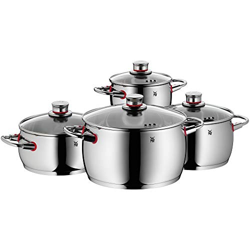 WMF cookware Set 4-Piece Quality One Vapor Hole Glass lid Cromargan Stainless Steel Brushed Suitable for All Stove Tops Including Induction Dishwasher-Safe
