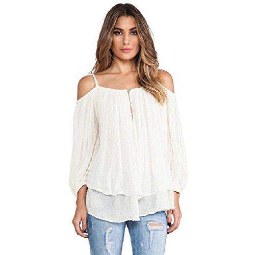 VESNIBA Women Spaghetti Strap Off Shoulder Casual Blouse Shirt Tops (S, White)