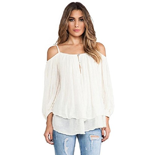 VESNIBA Women Spaghetti Strap Off Shoulder Casual Blouse Shirt Tops (S, White)