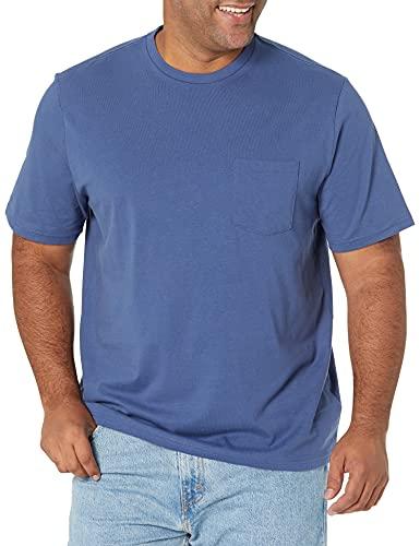 Amazon Essentials - Pack de 2 camisetas de manga corta y corte holgado con cuello redondo y bolsillo para hombre, Azul (Blue Blu), US XS (EU XS)