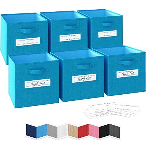 Ordnungsbox 33x33x33- 6 Boxen Aufbewahrung Set | Faltboxen Mit Zwei Tragegriffen & 10 Label Karten | Faltbare Kallax Boxen | Extra Stabile Stoffbox Als Kallax Einsatz | Kisten Aufbewahrung [Blau]