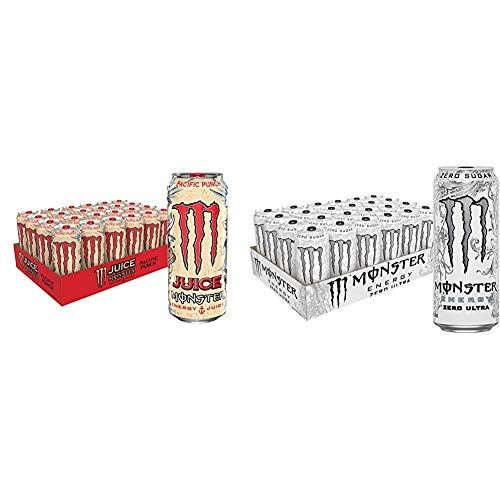 Juice Monster Pacific Punch, Energy + Juice, Energy Drink, 16 Ounce (Pack of 24) & Monster Energy Zero Ultra, Sugar Free Energy Drink, 16 Ounce (Pack of 24)