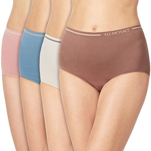 ELLEN TRACY Essentials Womens Seamless Briefs 4-Pack Panties (XX-Large, Cornet Blue)