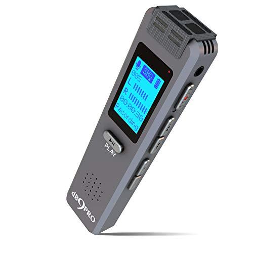 180 Hrs Battery Digital Voice Recorder dB9PRO 8GB Expandable by 32GB, Rechargeable USB Voice Activated Dictaphone MP3 Player, Audio Recording Device, Built-in Microphone, Speaker for Lectures Meetings