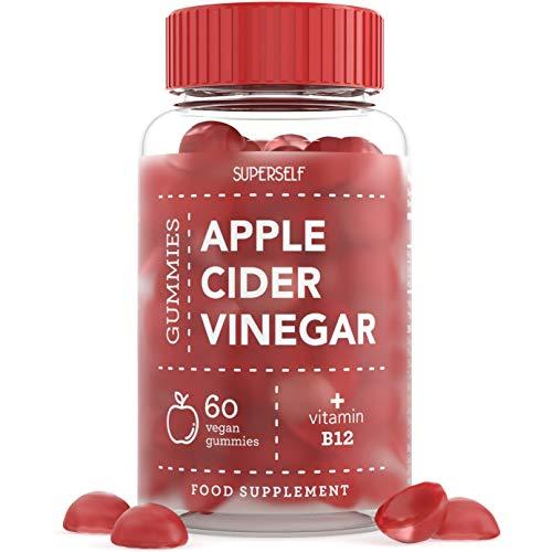 Apple Cider Vinegar Gummies - Enhanced with Vitamin B12 & Folic Acid - 500mg ACV per Gummy - 60 Gummies - Natural Ingredients, Vegan & Gluten-Free - High Strength Apple Cider Vinegar Capsules