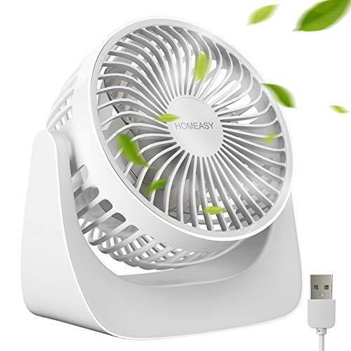 homeasy Mini Ventilador Pequeño Silencioso 360° con 3 Velocidades, Portátil Ventilador USB Silencioso PC con Cable USB Regarcable 1.2m, Ventilador de Mesa para Oficina Hogar Coche (Blanco)