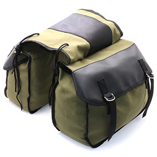 Alforja de lona para motocicleta, mochila de equipaje, caja de herramientas para Honda Shadow 750, Kawasaki Vulcan 500 Suzuki (verde militar)