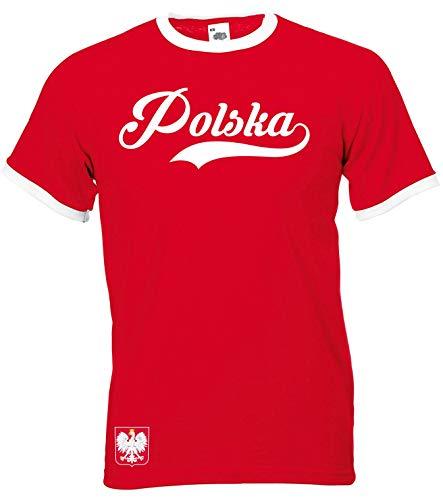 Polen - Ringer Retro TS - rot - EM 2016 T-Shirt Trikot Look Polska (XL)