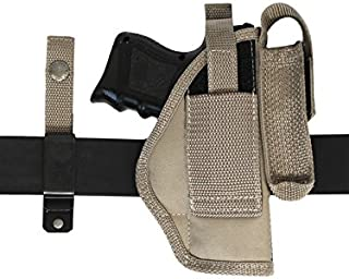 Barsony New Desert Sand Ambidextrous 360Carry 8 Option Holster w/Mag Pouch for Compact 9mm 40 45