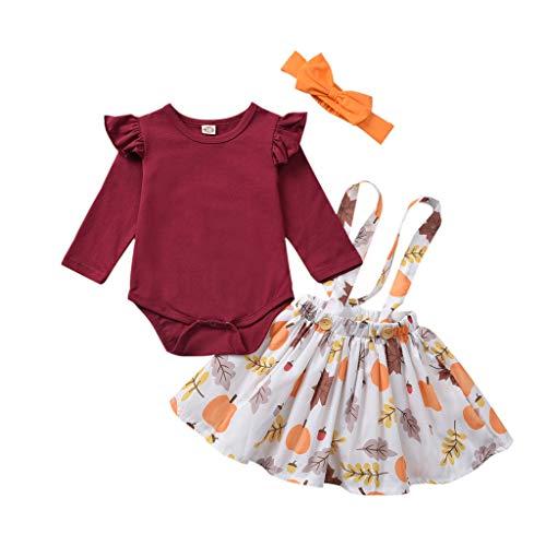 Kobay-Baby Kleinkind Kinder Baby Mädchen Thanksgiving Kürbis Tops Overalls Rock Stirnband Outfits (18-24 Monate, Rot)