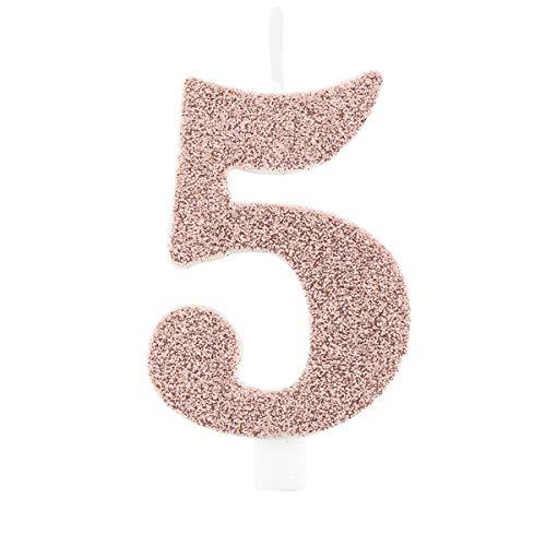 Candela 5 Cinque ROSA GOLD GLITTER numerale h 9,5cm - Candelina rosa oro per Torta e dolci - candela di compleanno in cera a forma di numero (5 Cinque)