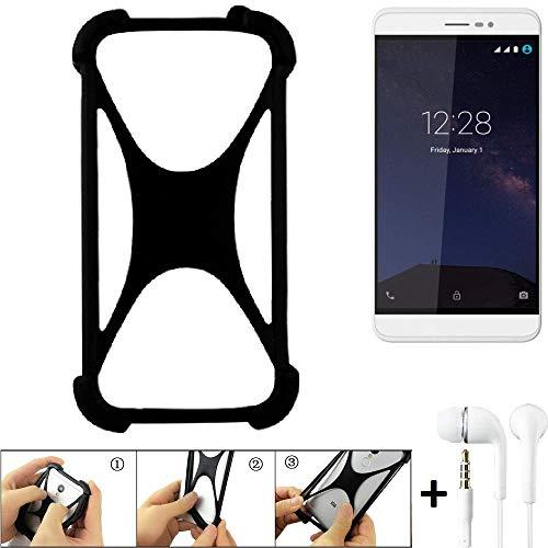 K-S-Trade® Handyhülle Für Coolpad Porto S Schutzhülle Bumper Silikon Schutz Hülle Cover Case Silikoncase Silikonbumper TPU Softcase Smartphone, Schwarz (1x), Headphones