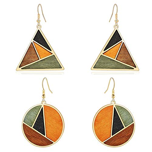 HERAYLI 2 Pairs Fashion Geometric Round and Triangle Retro Drop Earrings, 14K Gold Plated Wooden setting Personality Dangle Earrings for Women Jewellery