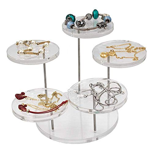 CSILife Acrylic Products Display Stands | 5pcs Adjustable Display Risers Set | Display Shelves for Mini Figurines - Clear