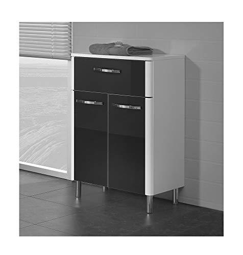 Pelipal Badmöbel Leona - Unterschrank 53 cm, 2-türig, 1 Schubkasten, Glas Schwarz - weiß Hochglanz/weiß