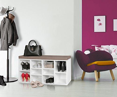 KadimaDesign KADIMA Aura - Banco Zapatero con Asiento (103,5 x 53 x 30 cm, con estanterías), Color Blanco