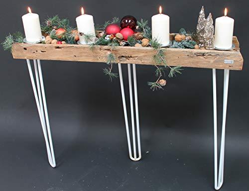 Trendy Home GmbH Adventskranz Teak Tablett ca. 150 cm lang mit Hairpin Beinen Traumhaft schön