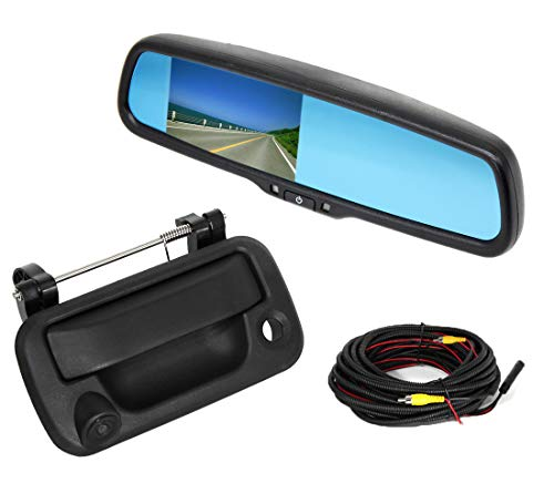 RED WOLF for Ford F150 2004-2014, F250/350 2008-2015 Aftermarket Tailgate Handle with Backup Camera + 4.3' Anti-Glare Reverse Rear View Mirror Monitor Kit