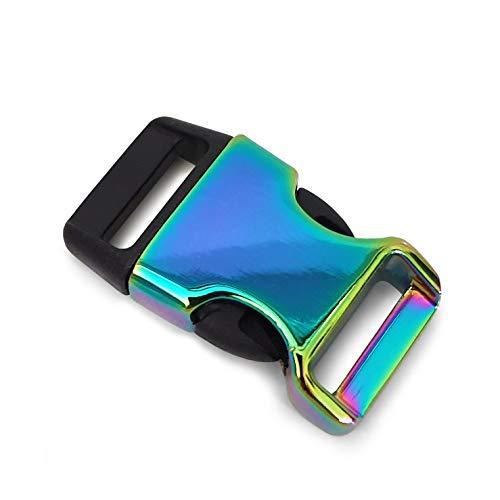 Ganzoo - Juego de 2 cierres de clip de metal y plástico para pulseras de paracord, color negro y arcoíris