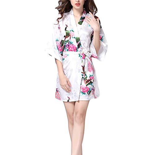 Dongxiao Albornoz Mujeres Kimono Robe Sexy SPA Vestido Vestido Poliéster Silk Bathrobe Lounge (Color : White, tamaño : XX-Large)