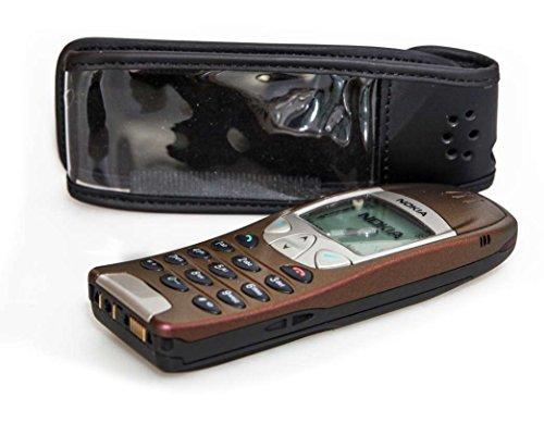caseroxx Hülle Ledertasche mit Gürtelclip für Nokia 6210 6310 6310i aus Echtleder, Tasche mit Gürtelclip & Sichtfenster in schwarz