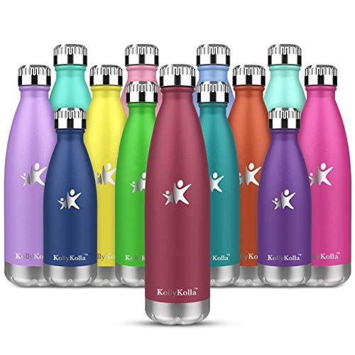 KollyKolla Botella de Agua Acero Inoxidable, Termo Sin BPA Ecológica, Botellas Termica Reutilizable Frascos Térmicos para Niños & Adultos, Deporte, Oficina, Yoga, Ciclismo, (750ml Rosa Oscuro)