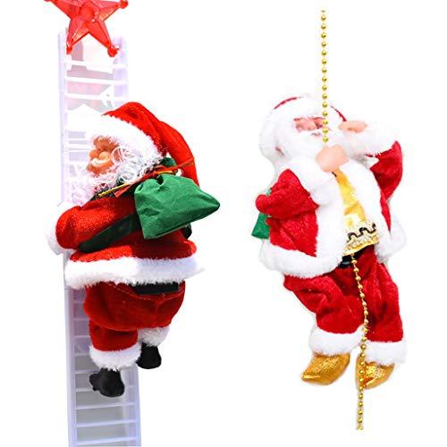 VRRYE 2Pcs Christmas Electric Dancing Music Santa Claus Doll,Electric Santa Claus Climbing Ladder Doll Decoration Plush Doll Toy Hanging Xmas Ornament Toys (2PC)