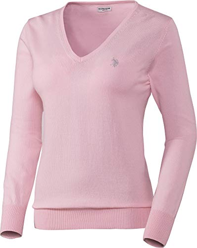 U.S. POLO ASSN. Damen Baumwoll-Pullover in Rosa, V-Schnitt, Leicht taillierte Passform und vielseitig kombinierbar, Damen Sweatshirt für Sommer und Winter, Gr. S - XL